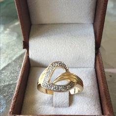 FINAL PRICEHeart Ring Victoria Townsend Sterling silver gold plated CZ'sHallmarked 925 DBJSize 8.75 Victoria Townsend Jewelry Rings