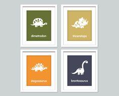 Dinosaur Nursery art print - Dinosaur art - Boys room decor - 8x10 posters - t-rex, brontosaurus, triceratops on Etsy, $47.00
