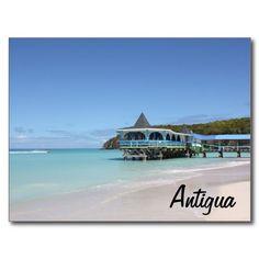 Tropischer Paradies-Pier auf Antigua Postkarte