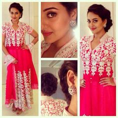 Pretty in Pink Sonakshi Sinha Saree, Indian Film Actress, Fashion Beauty, Womens Fashion, Anarkali, Indian Wear, Indian Outfits, Indian Fashion, Pretty In Pink