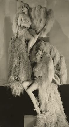 Sisters Betty and Beth Dodge in Showgirl Costumes 1929