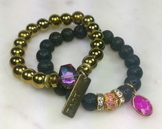 10MM Black lava and Hematite gold stacking beaded bracelets, set of 2 bracelets, Charm bracelet, Pink Crystal, Rhinestone, Gold & Pink Bead by WristCandybyKee on Etsy