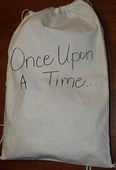 This is a super cool idea!  Put some objects in the bag, and let kids pull one out to tell the next part of the story!