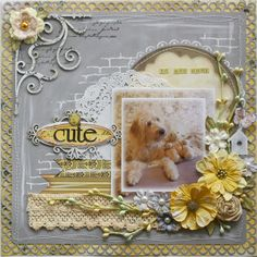 Scrapbook layout made by Bo Bunny design team member Gabrielle Pollacco using new Serenade collection and NEW Bo Bunny blooms & lace