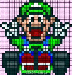 Luigi - Mario Kart Perler Bead Pattern - BEADS.Tokyo