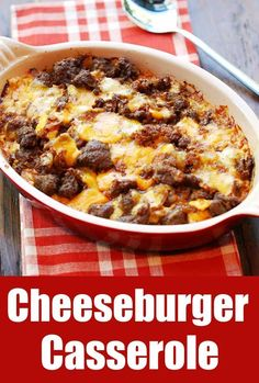 A hearty and filling cheeseburger casserole is s a wonderful low carb cheeseburger alternative. You won't miss the bun! via @healthyrecipes