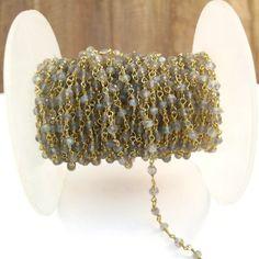 Labradorite Rosary Chain 10 Feet Gold Plated by LillysBeadBox