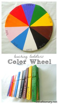Color wheel Kids teaching kids colors is learning activity. Colour wheel project for toddlers is recycleable, inexpensive craft for montessori & preschool. Teaching Toddlers Colors, Toddler Color Learning, Teaching Colors, Kids Learning Activities, Toddler Fun, Infant Activities, Educational Activities, Tot School, Coloring For Kids