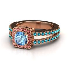 Cushion Blue Topaz 14K Rose Gold Ring with Red Garnet - $1600