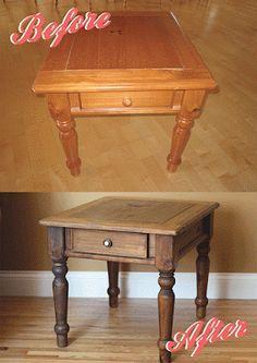 Hate oak, love rustic wood. DIY! Varnish remover, sand, clean, stain. Hayseed Homemakin': Farmhouse End Table