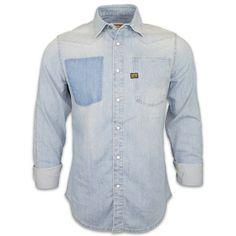 G-Star Raw A-Crotch Vintage Denim Shirt in Light Aged