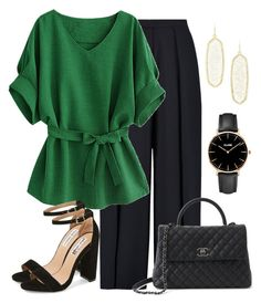 """""""Work outfit"""" by anja-jovanovich ❤ liked on Polyvore featuring Iris & Ink, Chanel, Steve Madden, CLUSE, Kendra Scott, workchic, workoutfit and greenpants"""