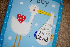 The Stork (boy) Personalised Signs, Stork, Craft Projects, Handmade, Gifts, Hand Made, Presents, Personalized Tags, Craft