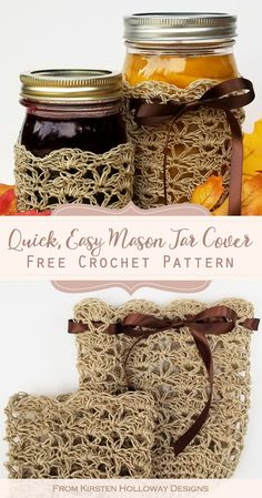 Quick Mason Jar Cover Free Crochet Pattern This free jar cozy cover crochet pattern makes a quick and easy home decor project. It's a perfect, quick DIY gift to crochet for friends or your own home. Crochet Cozy, Crochet Gratis, Free Crochet, Mason Jar Cozy, Mason Jars, Crochet Jar Covers, Pots, Selling Crochet, Easy Crochet Projects