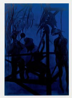Chris Ofili, Iscariot Blues, oil on linen, 110 x 76 inches, New Museum 2015 Art History Lessons, History Posters, Chris Ofili, Symbolic Art, Collage, Blue Painting, Monochrome Painting, New Museum, Blue Devil