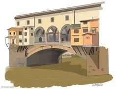 Qué ver en Florencia: Historia y dibujo del Ponte Vecchio. Arno, Palazzo, Line Drawing, My Drawings, Florence, Mansions, House Styles, Pictures, Album