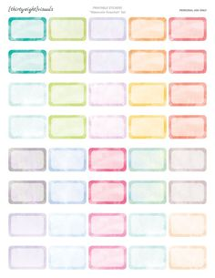 A lovely set of watercolor halfboxes stickers for your Erin Condren and Happy Planner!