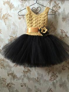 Black and gold flower girl tutu dress birthday tutu dress by Qt2t