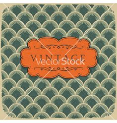 Vintage scale pattern with retro label vector on VectorStock®