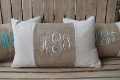 Monogrammed Burlap Accent Lumbar Pillow Cover-12x20. $25.00. Made by my very own Gamma Phi Sister, Natalie McMyler!  www.pocketofpresh.com