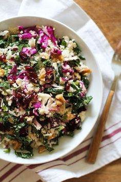 Raw Cauliflower Couscous with Kale, Cabbage, Walnuts, Dried Cranberries, and Lemon-Mustard Vinaigrette #vegan