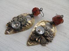 Amazon.com: Handmade Rough Carnelian Patinaed Brass Compass Altered Art Earrings: Deb VintageSoul