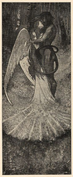 "'Höllen=Idyll', ""Lustige Blätter"", 1905 Source Don't know who the artist here is since they didn't sign it (artists, remember to sign your work). Arte Horror, Horror Art, Dark Fantasy, Fantasy Art, Satanic Art, Creepy Art, Angels And Demons, Macabre, Dark Art"