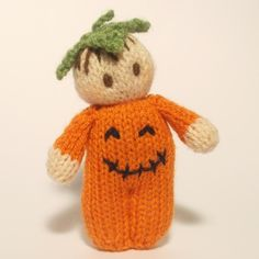 Halloween Bitsy Baby is wearing an Orange Pumpkin romper suit and a green leaf hat completes the costume.He is ready to celebrate his first Halloween! Find this pattern at LoveKnitting. Baby Knitting Patterns, Loom Knitting, Doll Patterns, Blanket Patterns, Knitting Needles, Pumpkin Halloween Costume, Halloween Doll, Halloween Crafts, Halloween Knitting