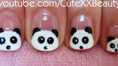 Panda Nail Art (For Short Nails) This works great for tiny little girl nails! I believe I'll do this for Serenity at some point! Trendy Nail Art, Cute Nail Art, Easy Nail Art, Cute Nails, Little Girl Nails, Girls Nails, Girls Nail Designs, Cute Nail Designs, Heroes Disney