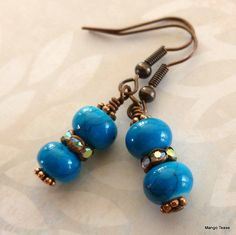 Turquoise Ceramic Earrings Copper and Turquoise by MangoTease