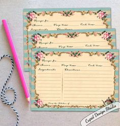 A personal favorite from my Etsy shop https://www.etsy.com/listing/259348375/recipe-cards-pink-and-gold-french-recipe