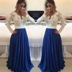 White lace royal blue skirt long prom dresses,long sleeves v neck evening gowns,see through cheap party dress,formal women dress Party Dresses With Sleeves, Cheap Party Dresses, Prom Dresses Blue, Bridesmaid Dresses, Dress Party, Bridesmaid Ideas, Long Dresses, Wedding Dresses, Homecoming Dresses