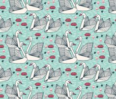 Geometric Swans - Pale Turquoise/French Rose by Andrea Lauren fabric by andrea_lauren on Spoonflower