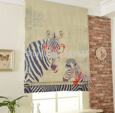 Included Curtains New Arrival Thickening Linen/Cotton Cartoon Giraffe Roman Shade Blinds The Finished Curtain