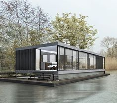 moderne woonboot in de Vecht door architect amsterdam   woonark   floating home