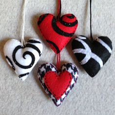 Black and white felt heart ornaments ready to ship by Lucismiles
