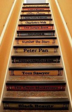 painting book shelves on wooden stairs