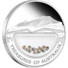 Certified Treasures of Australia Diamonds 1oz Silver  Coin  treasures of the wprld coin , perth mint coins, bullion coins , silver  coins,diamonds