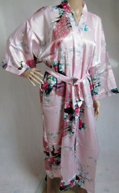 200503 Ladies Long Satin Chinese Japanese Kimono Dressing Gown Pale Pink 53ec3cac8