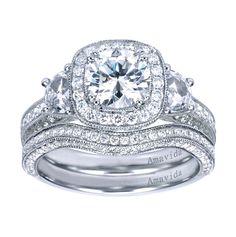 18K White Gold Victorian Halo Engagement Ring    Style ER6752W83JJ