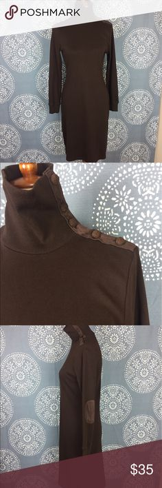 "Lauren Ralph Lauren Brown Turtleneck Dress Nice long sleeve chocolate brown Lauren Ralph Lauren dress. It has a turtleneck with buttons along the side and faux suede elbow patches. It has string belt loops but no belt. The dress is 100% cotton it has elastic cuffs and is in great condition. 18"" armpit to armpit and 37"" long. Lauren Ralph Lauren Dresses"