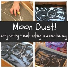 moon dust mark making tray: 6 cups fine salt - large squirt of liquid black food colouring (or tsp gel colouring mixed with few drops water) - tbsp baby powder or flour - generous sprinkle of silver glitter Writing Area, Pre Writing, Literacy Activities, Activities For Kids, Imagination Tree, Letter Formation, Moon Dust, Space Theme, Early Literacy