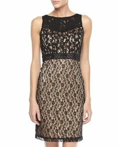 Beaded Lace Cocktail Dress, Black/Nude by Sue Wong at Neiman Marcus Last Call.