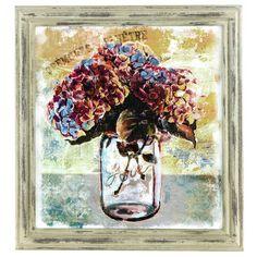 Love Jar with Hydrangeas Rustic Framed Wall Art