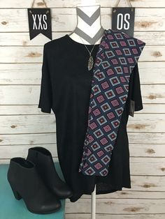 Cute black Irma and patterned leggings LulaRoe outfit by LulaRoe Amy Hatchett !