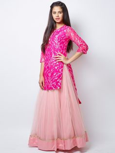 G3 Exclusive Pretty Pink Net Party Wear Lehenga Choli