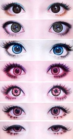 Kawaii Eye makeup with Circle Lenses Anime Make-up, Anime Eyes, Kawaii Makeup, Cute Makeup, Eye Contact Lenses, Lenses Eye, Doll Makeup, Makeup Eyes, Anime Eye Makeup