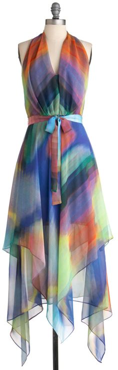 This reminds me so much of the 70s disco dresses - Spectrum of Style Dress, #ModCloth