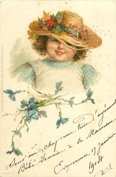 head & shoulders study of girl wearing straw hat, facing & looking front, blue flowers front left