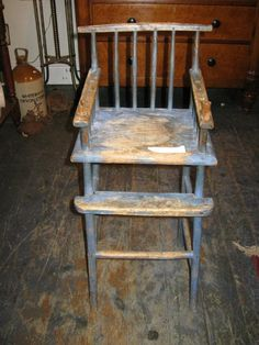 NOW THIS IS A SWEET. EARLY ANTIQUE CHILDS HIGH CHAIR.  www.landandross.com